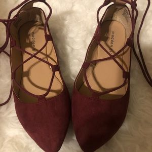 Madden Girl lace up wine pointy flats (6.5)